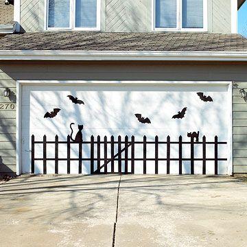 Eerie Outdoor Halloween Decorations Halloween garage door - halloween garage ideas