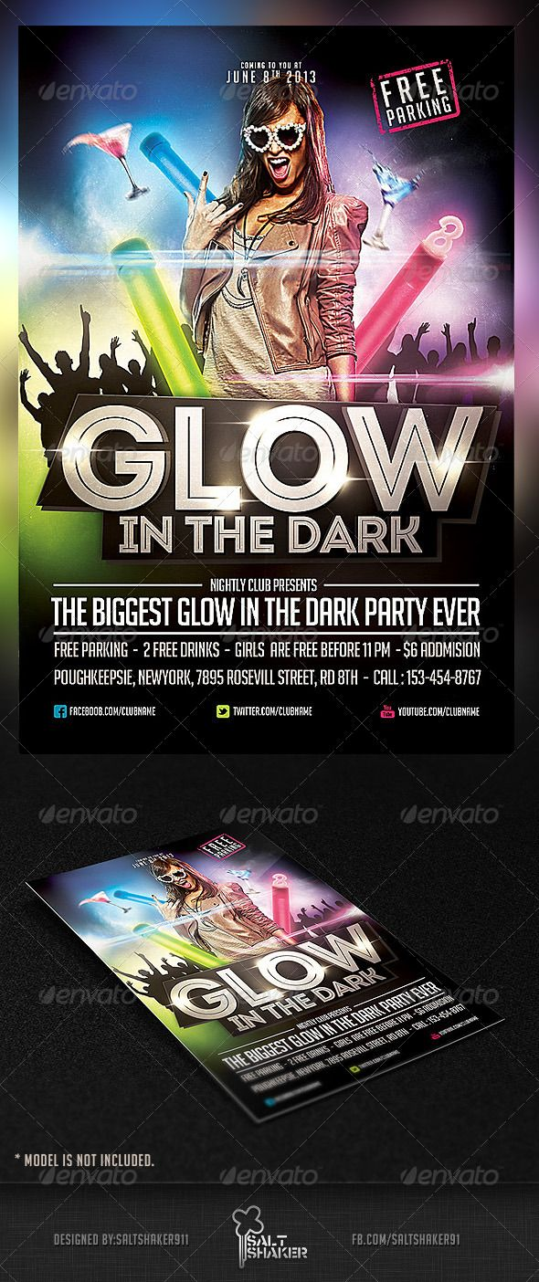 glow in the dark party flyer template clubs parties events