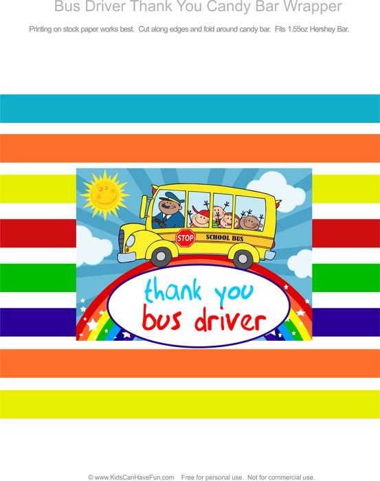Thank You Bus Driver Candy Bar Wrapper | Bus driver, Bus ...