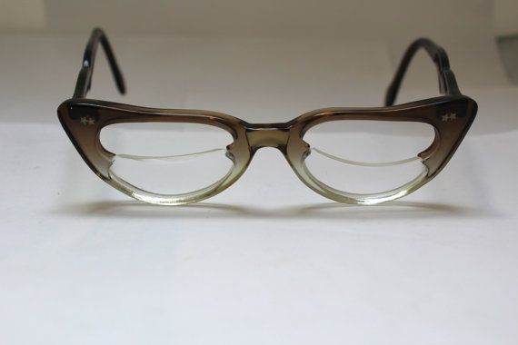 1950s Cats Eye Glasses // 40s 50s Vintage Catseyes Frames //