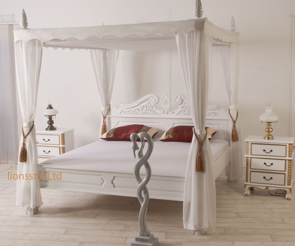Himmelbett Weiß Massivholz Bed White Bedding Canopy Bed
