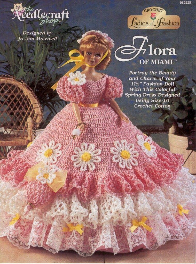 Flora of Miami Gown for Barbie Free Crochet Pattern | Barbie y Tejido