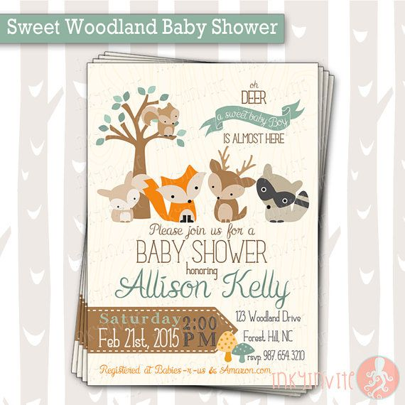 Sweet Woodland Baby Shower Invitation   Baby Boy Woodland Animals Invite    Forest Baby Shower Invitation