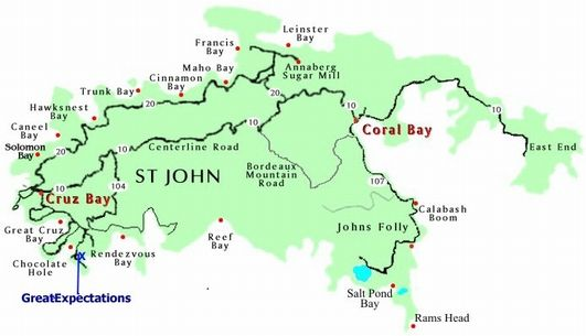 Map of St John US Virgin Islands Caribbean Bermuda Maps