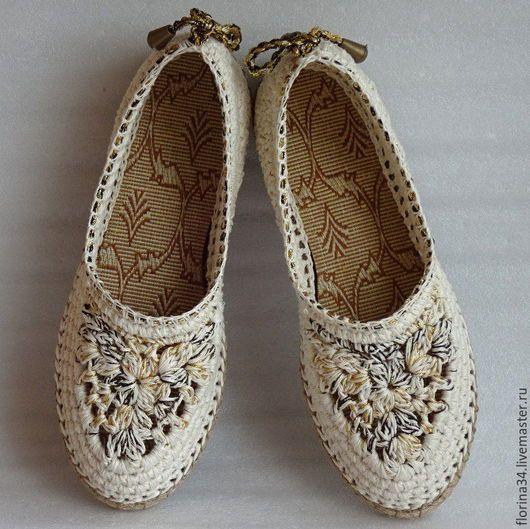 """Обувь ручной работы. Ярмарка Мастеров - ручная работа. Купить Балетки вязаные """"Шик"""", р.40, лен, белый. Handmade."""