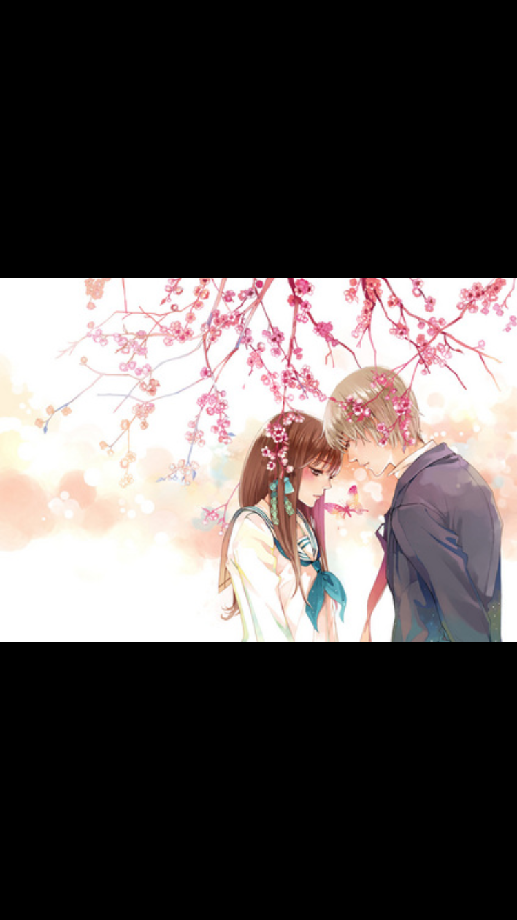 Blonde Haired Boy With Brown Haired Girl Under A Cherry Blossom Tree Girls Cartoon Art Girl Cartoon Cherry Blossom Tree