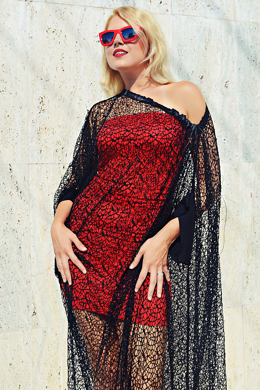 Red mesh maxi dress
