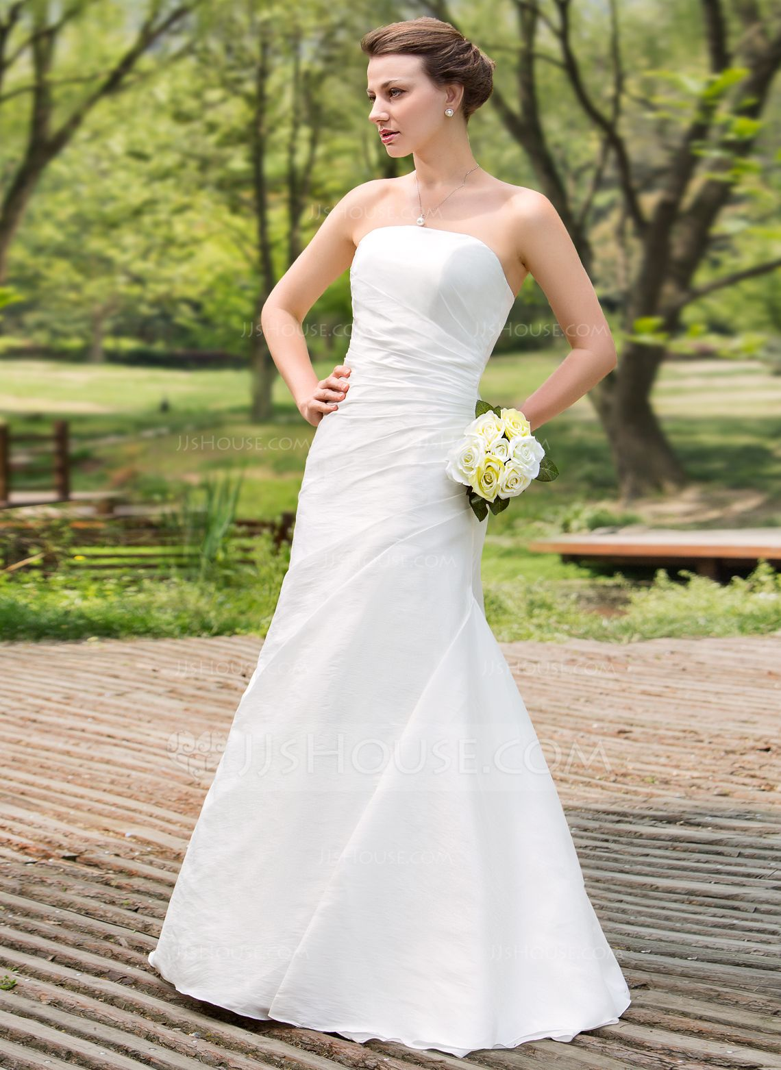 A Line Princess Strapless Floor Length Taffeta Wedding Dress With