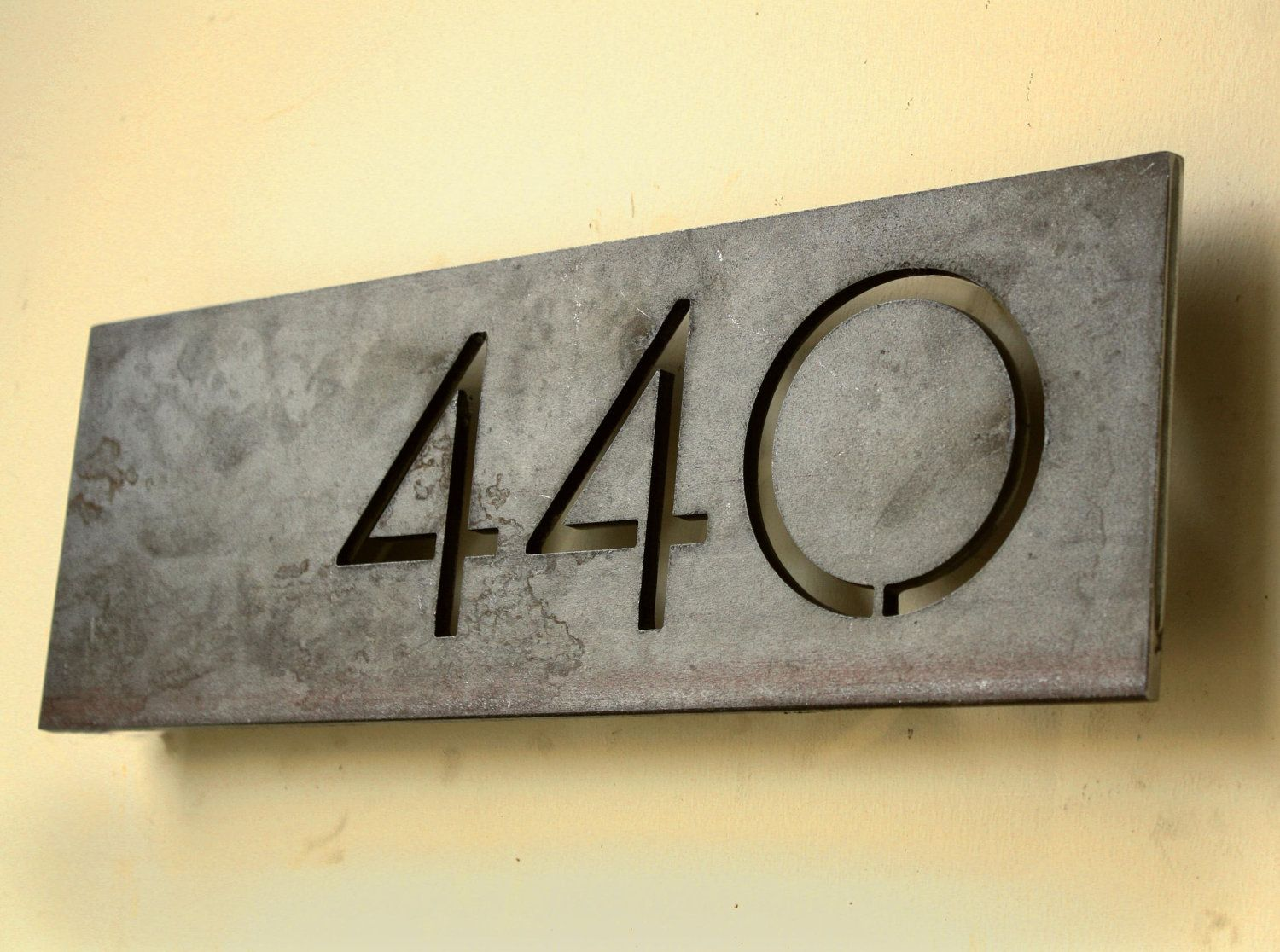 The monroe house numbers steel modern metal address plaque plate