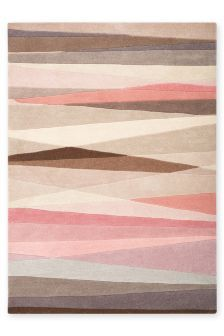 Pink Stripe Abstract Wool Rug