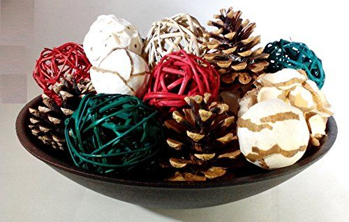 Decorative Rattan Balls Festive Holiday Mix Decorative Spheres Rattan Balls Pine Cones And