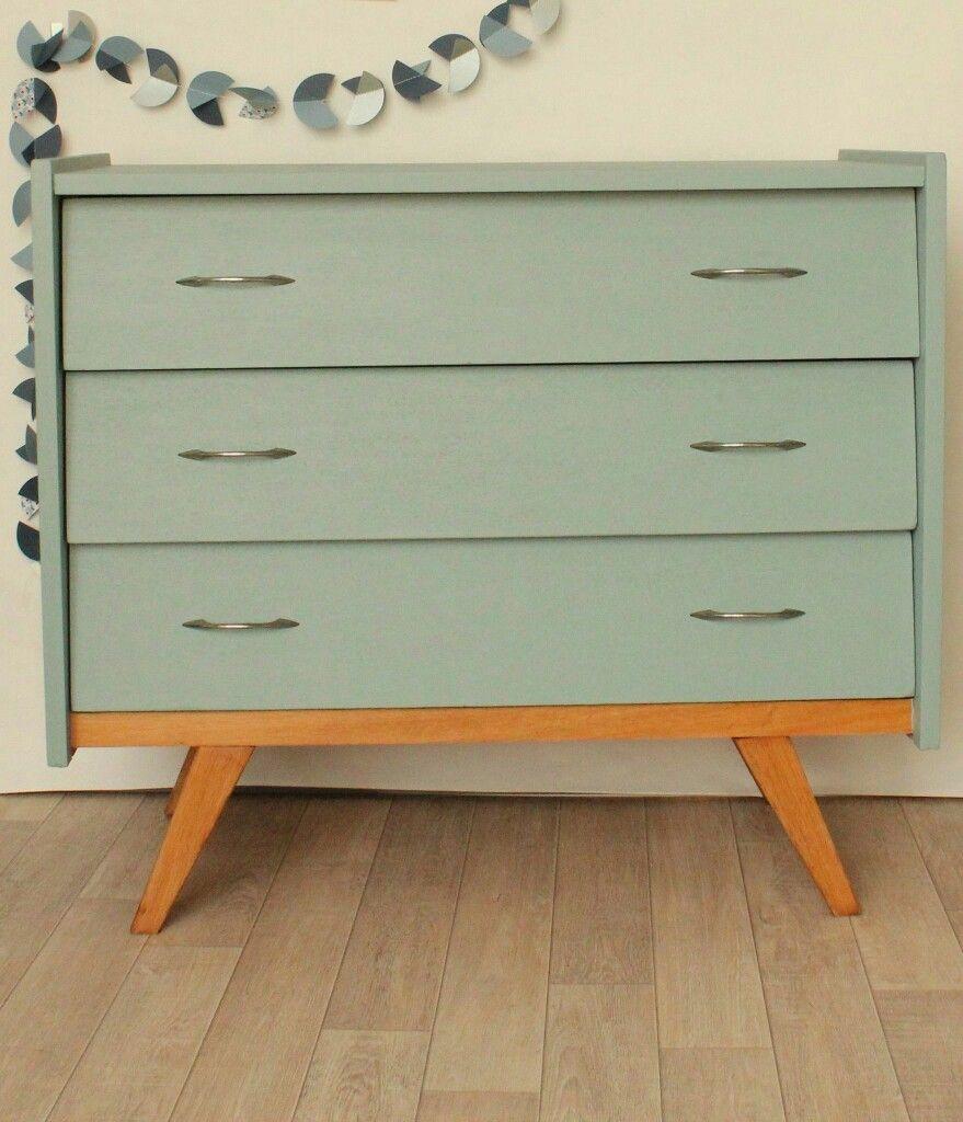 Vert D Eau Pour Re Styliser Une Commode Annees 50 Pour La Chambre D Adele Customiser Meuble Mobilier De Salon Commode Vintage