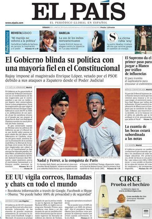 Los Titulares y Portadas de Noticias Destacadas Españolas del 8 de Junio de 2013 del Diario El País ¿Que le parecio esta Portada de este Diario Español?