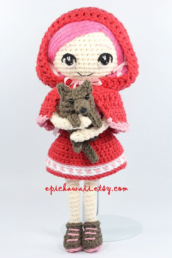 PATTERN: Little Red Riding Hood and Wolf Cub Crochet Amigurumi Dolls ...