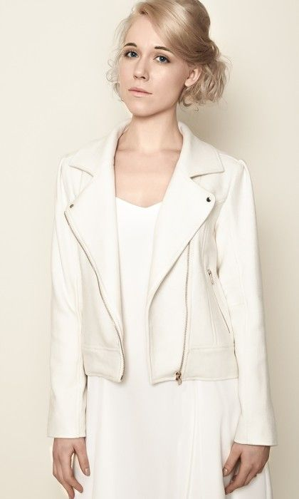 Olivier Battino - Perfecto blanc femme laine   White moto bike jacket €220 09416692cabb