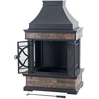 Sunjoy L Of117pst A 35 4 X 23 6 X 56 6 Elson Slate And Steel Fireplace Black Bronze Large Outdoor Fireplace Slate Fireplace Fireplace Hearth