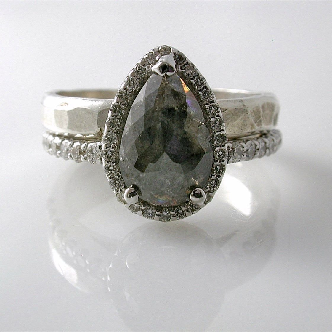 Grey Diamond Engagement Ring - Rustic, Pear Shape. Made to Order