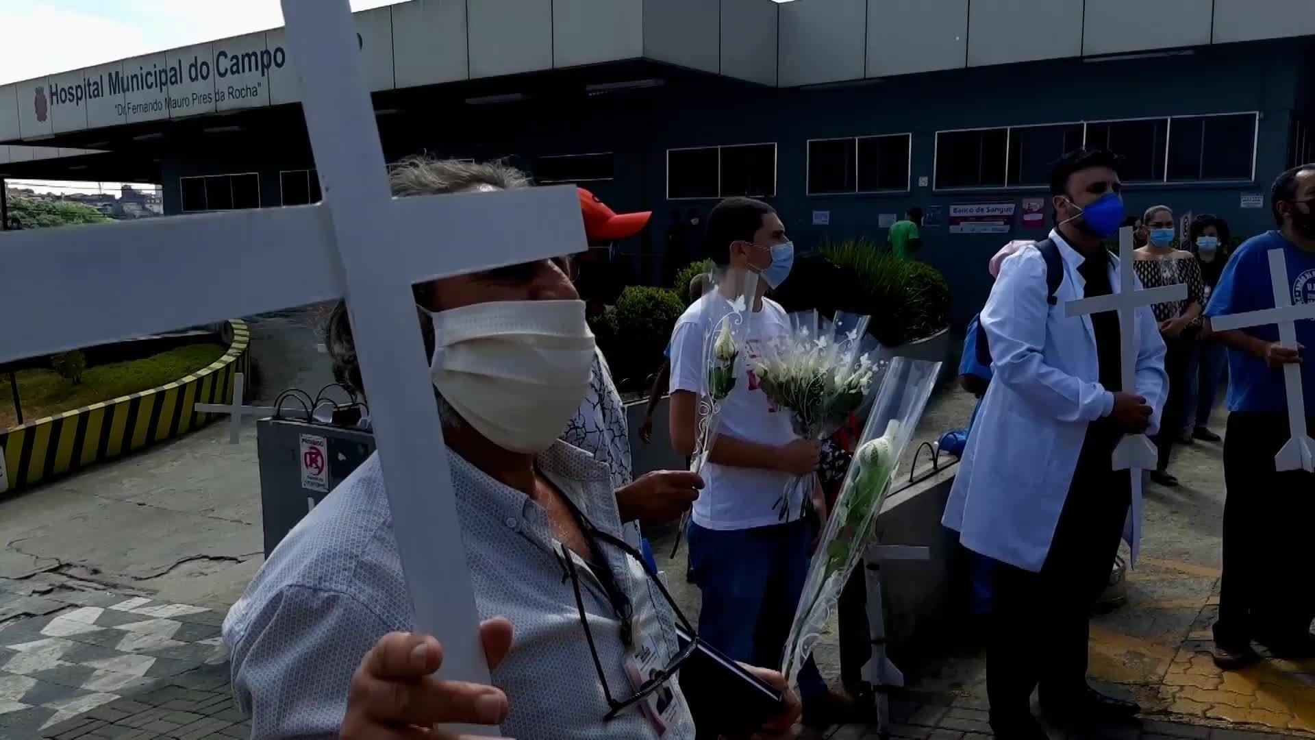 Brazil Health workers protest working conditions outside