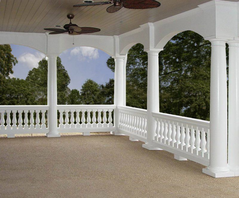 love the fatter balusters with the round columns porch
