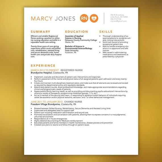 Nurse Resume Template,Includes Extra Page, Microsoft Office ...