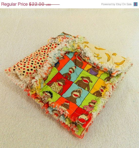 Baby Security Blanket - Colorful Sock Monkey Baby Rag Quilt Lovey ...