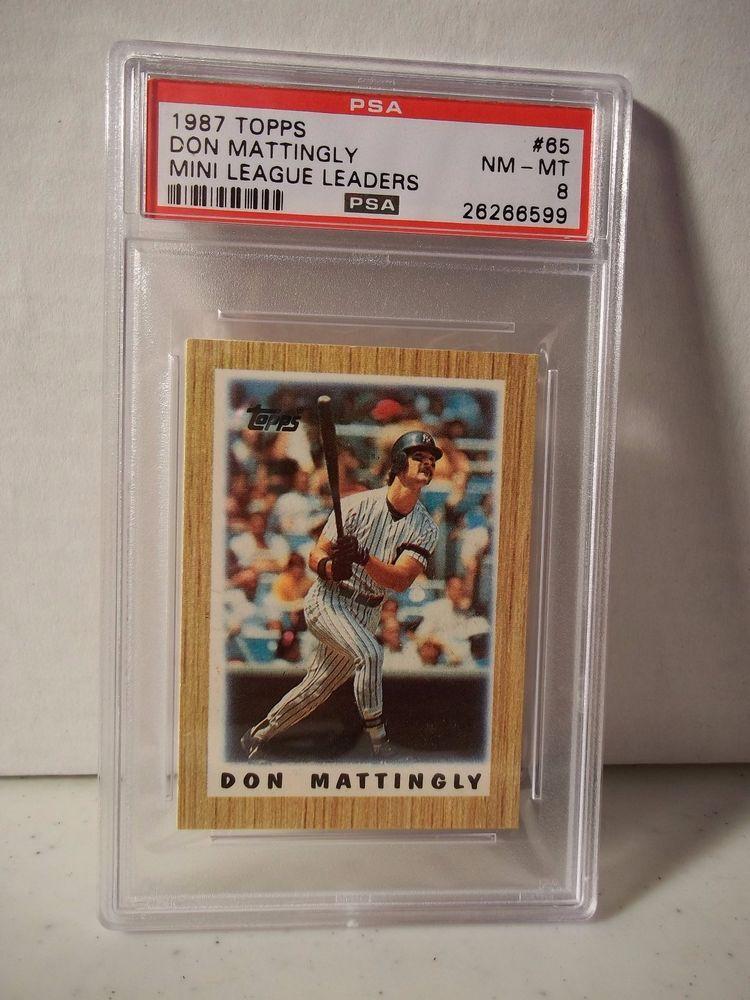 1987 topps mini don mattingly psa graded nmmt 8 baseball