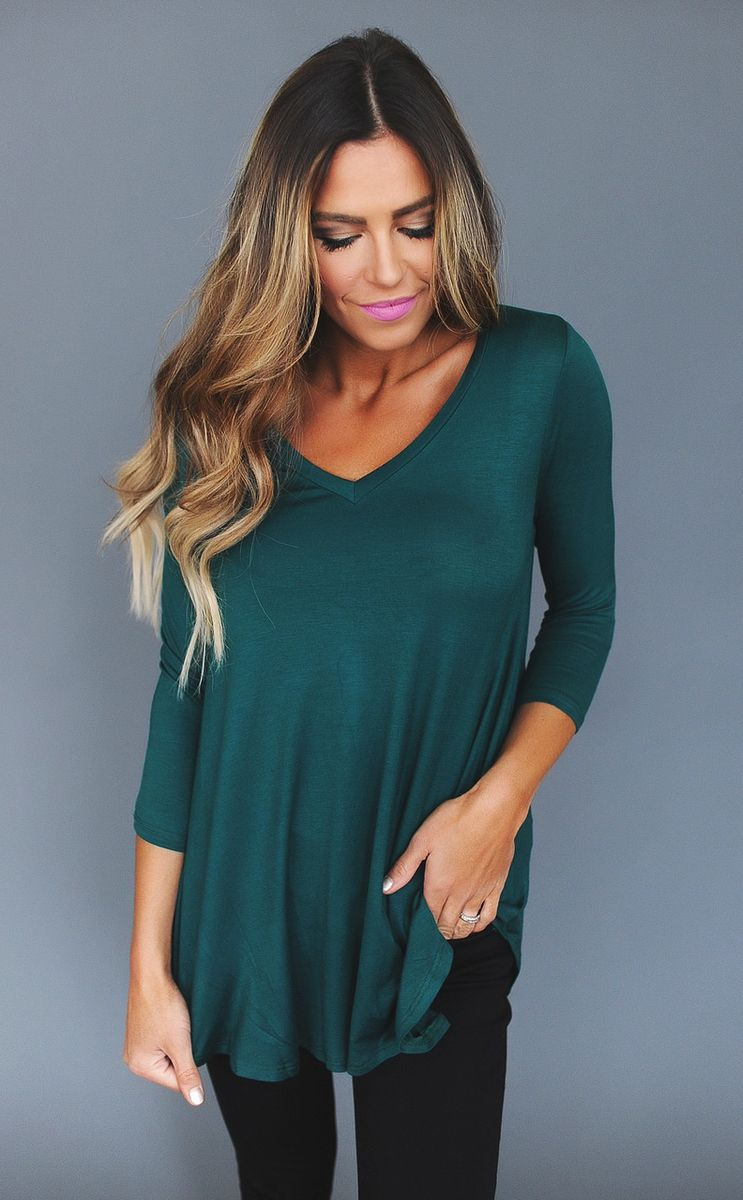 Emerald V Neck 3/4th Sleeve Top - Dottie Couture Boutique