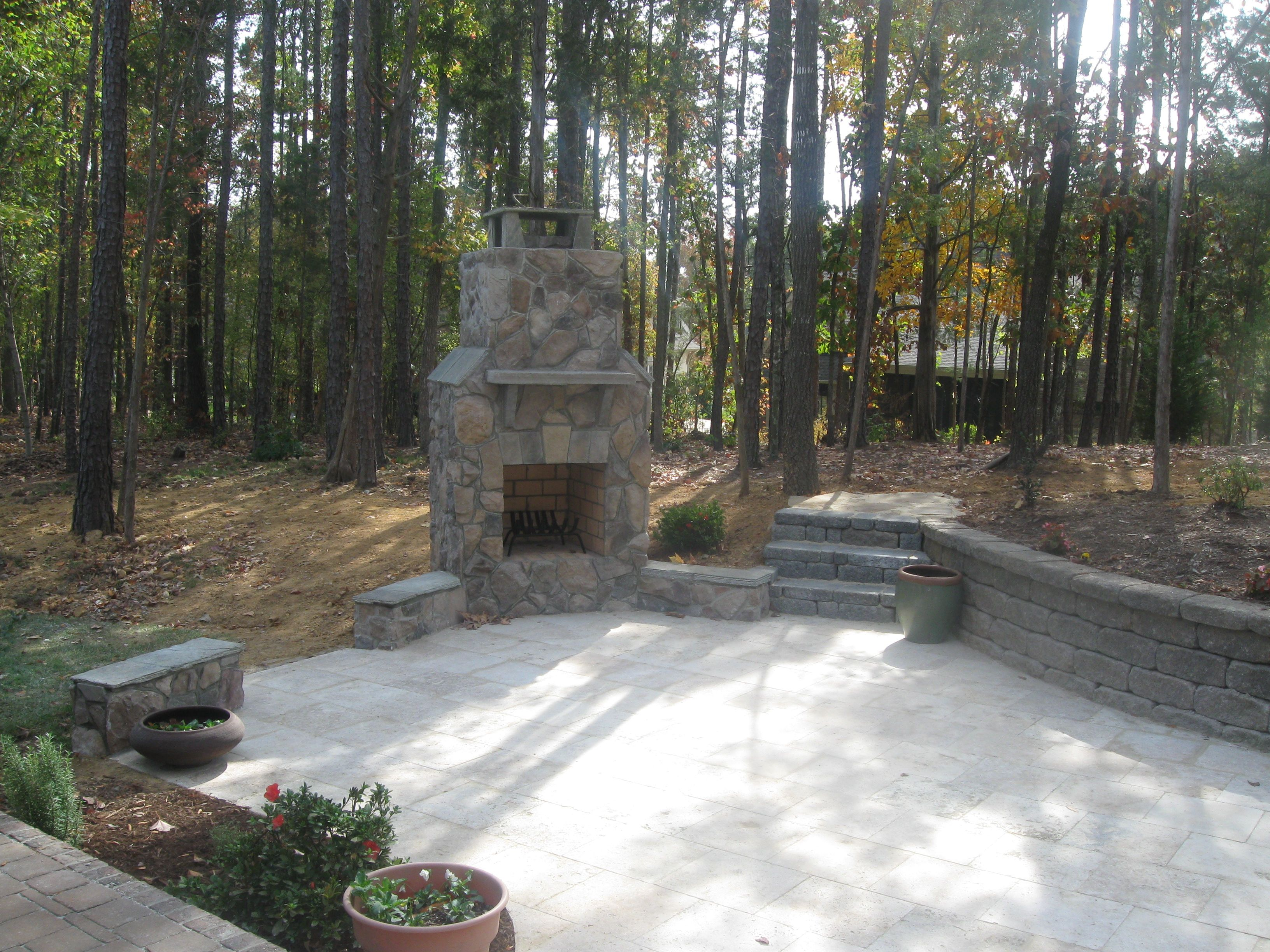Outdoor stone fireplaces and Travertine