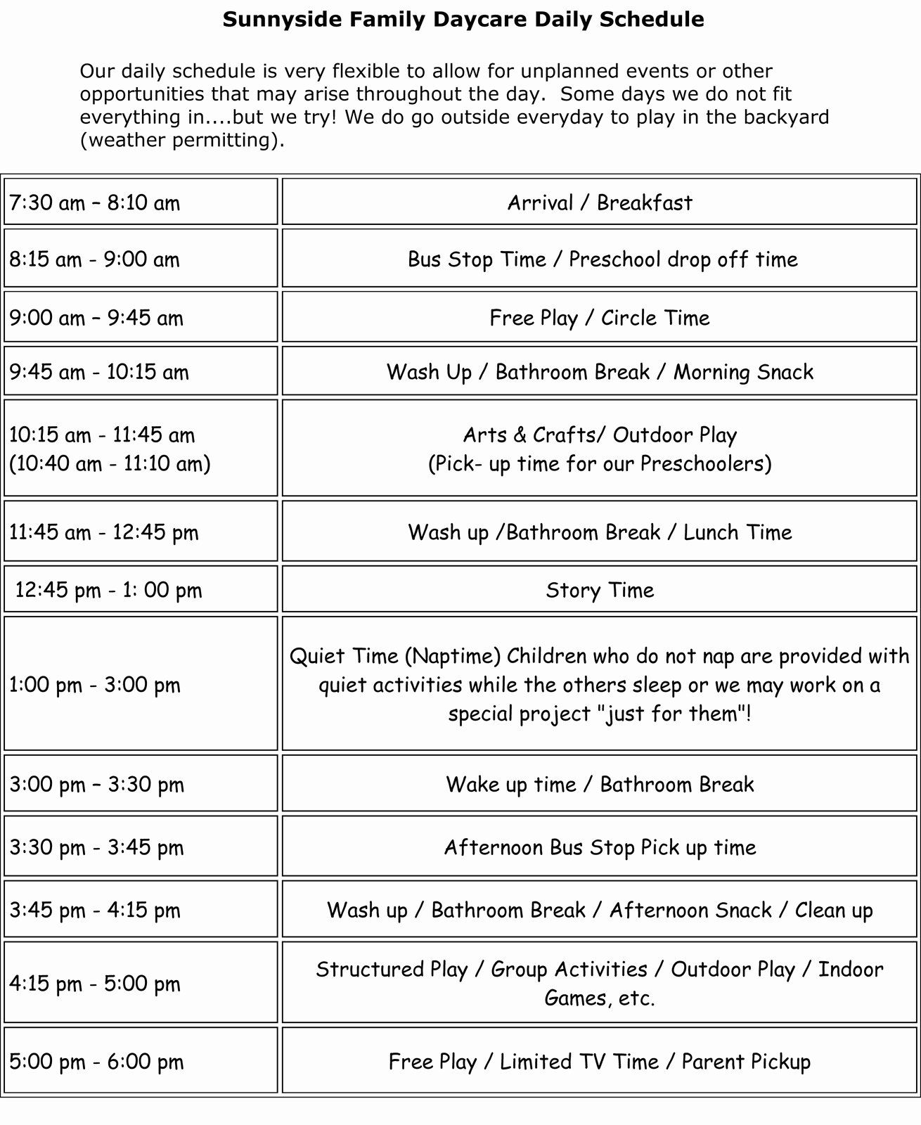 Daycare Staff Schedule Template Awesome Sunnyside Family Daycare Daily Schedule Meal Plans Daily Schedule Template Daycare Daily Schedule Daily Schedule