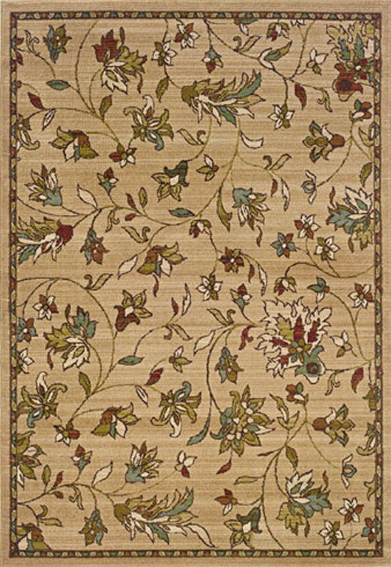 "2x8 Runner Sphinx Beige Floral Leaf Vines 1194A Rug - Approx 1' 10"" x 7' 6"" #RugsandTiles #FrenchCountry"