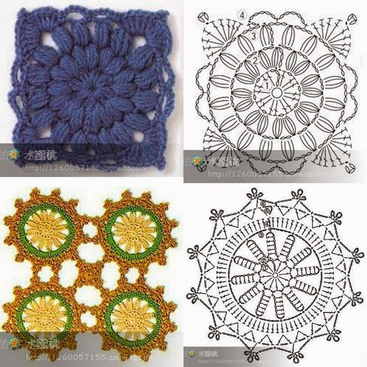 Crochet: motifs | crochet motiv, crochet granny square diagram ...