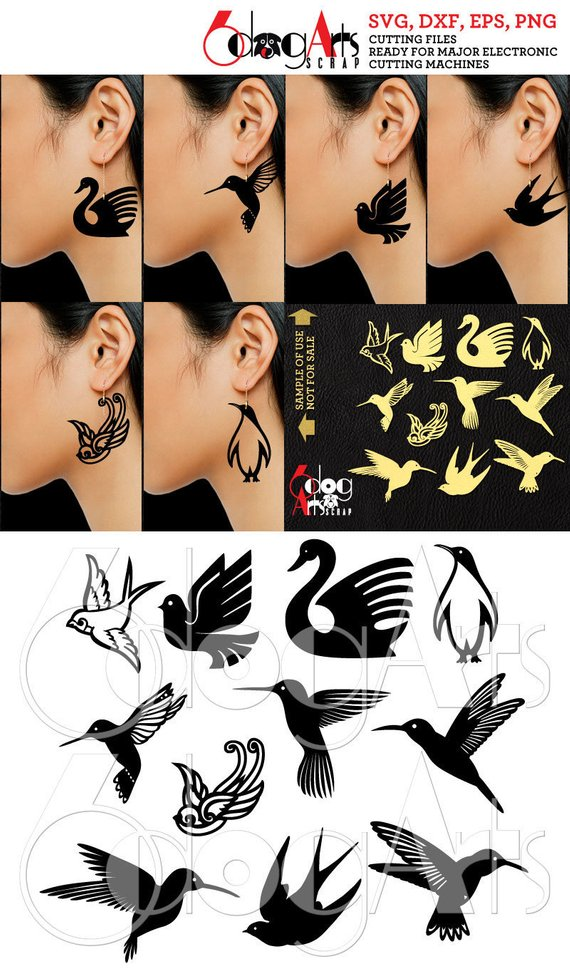 11 Wood / Acrylic / Leather Bird Earring / Pendant Templates Vector Digital SVG DXF Jewelry Cut Files Download Laser Die Cutting JB-1150