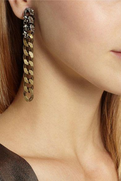 LANVIN Susan gunmetal and gold-tone crystal clip earrings £325
