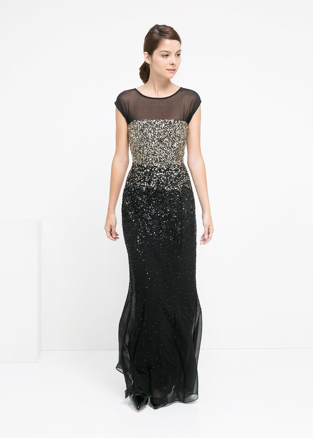 Langes kleid mit pailletten - Damen  Kleider, Pailletten kleid