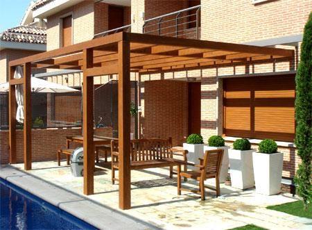 Glorieta de madera buscar con google ideas casa for Choza de jardin de madera techo plano