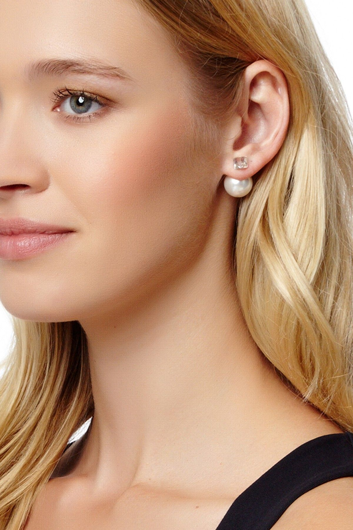 Simulated Diamond Amp Simulated Pearl Double Sided Earrings