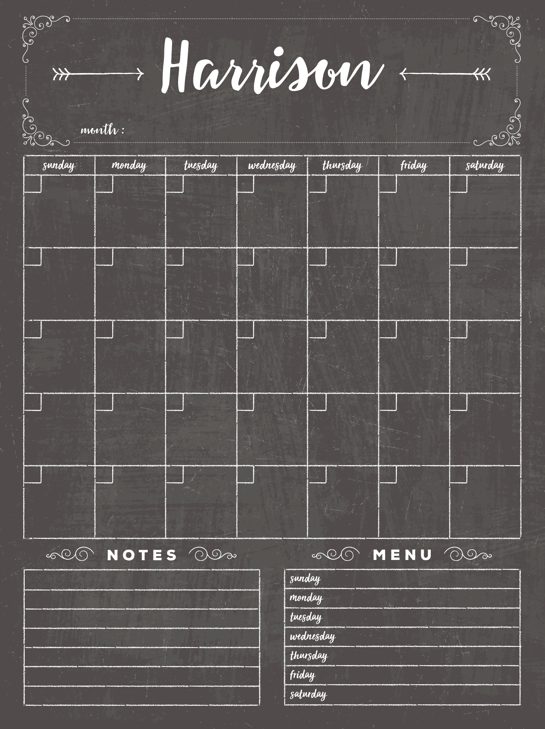 Dry Erase Chalkboard Calendar Professionally Designed, Framed And Ready To