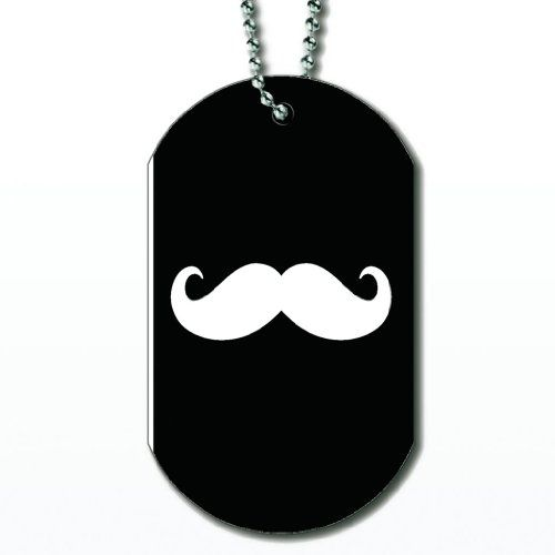 Mustache White - Dog Tag Necklace - http://www.thepuppy.org/mustache-white-dog-tag-necklace/
