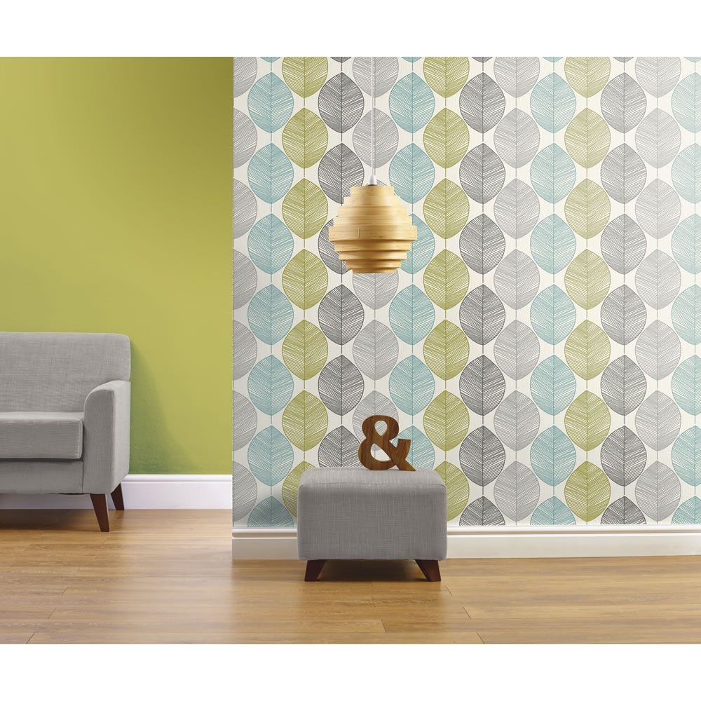Opera wallpaper heavyweight retro leaf teal green 408207 for Teal wallpaper living room