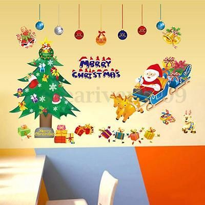 Removable Christmas Santa Claus Xmas Tree Window Wall Sticker Vinyl