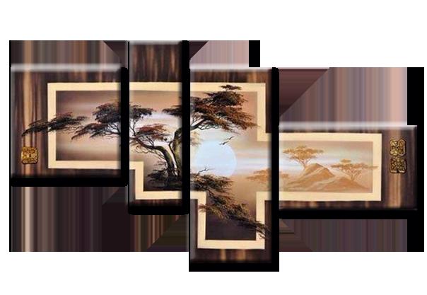 """Модульная картина из 4 частей """"Закат над пропастью"""""""