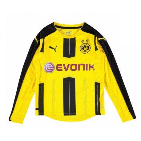 19 99 Borussia Dortmund Kids Home Kit Long Sleeve 2016 2017 Football Shirts Shirts Shirt Shop