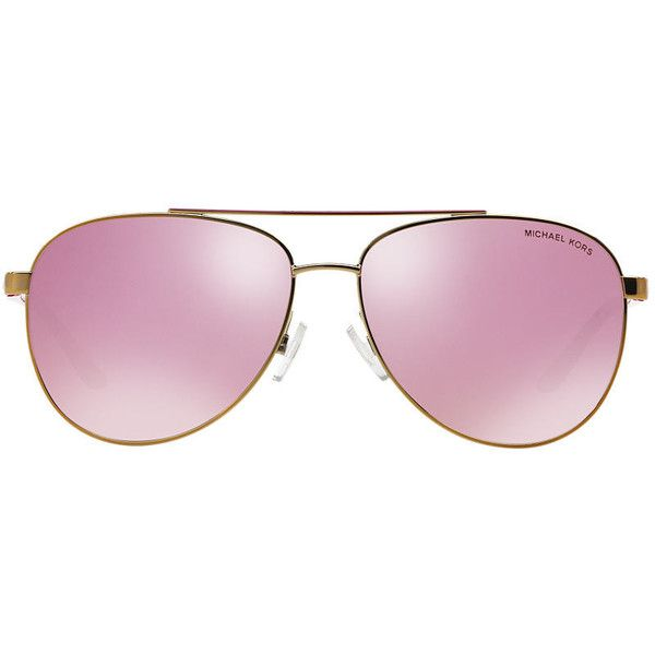 65235b32ea4251 Michael Kors Mk5007 59 Hvar Rose Gold Aviator Sunglasses ( 139) ❤ liked on  Polyvore