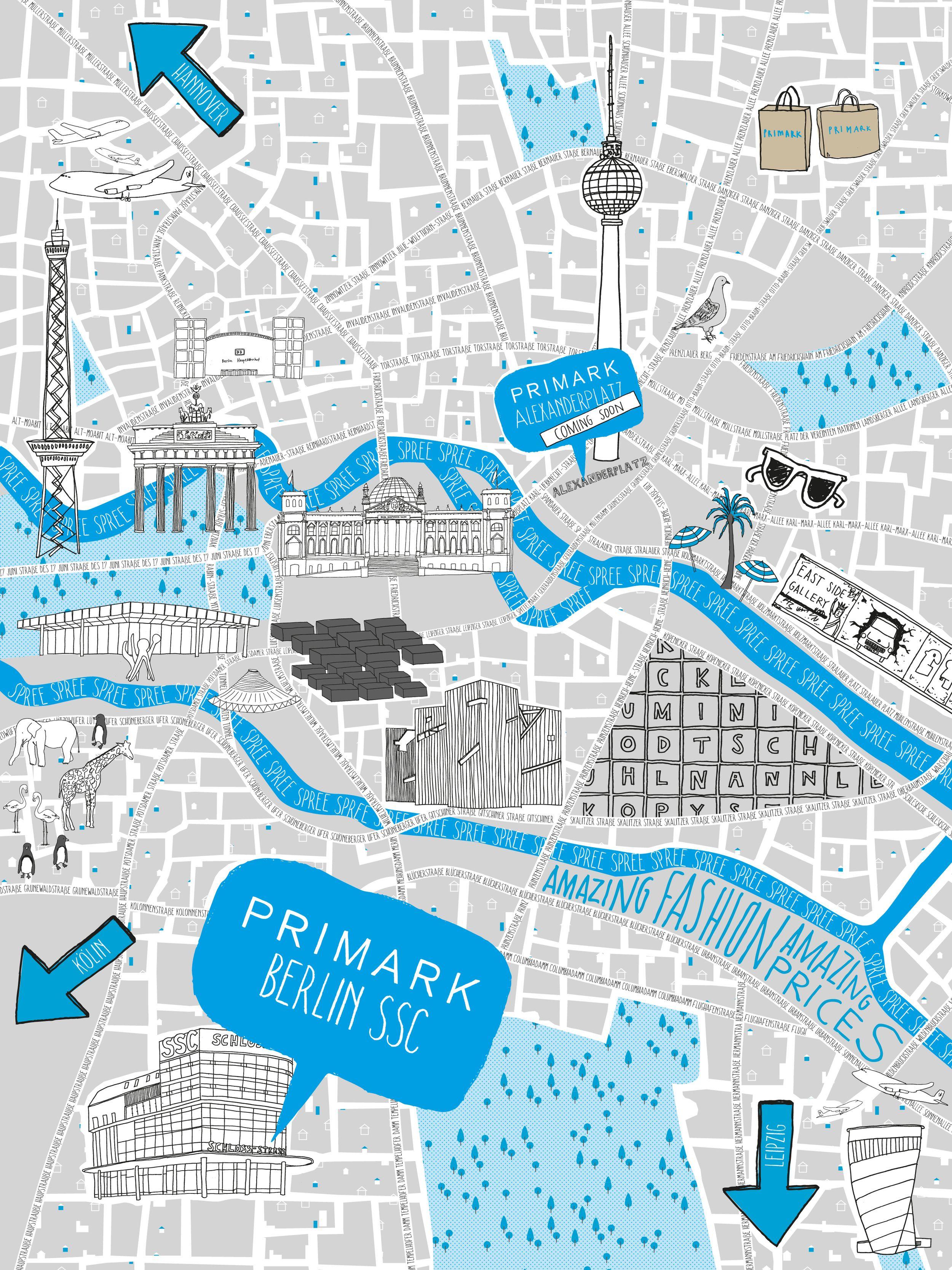 Primark Illustrated Map Berlin Eleanor Stevenson Freelance Graphic Design Illustrated Map Projects