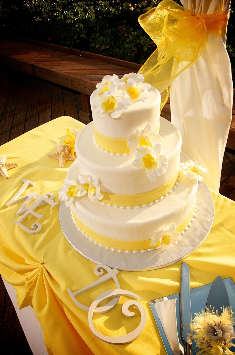 yellow beach wedding cake # yellow beach reception | Yellow Beach ...