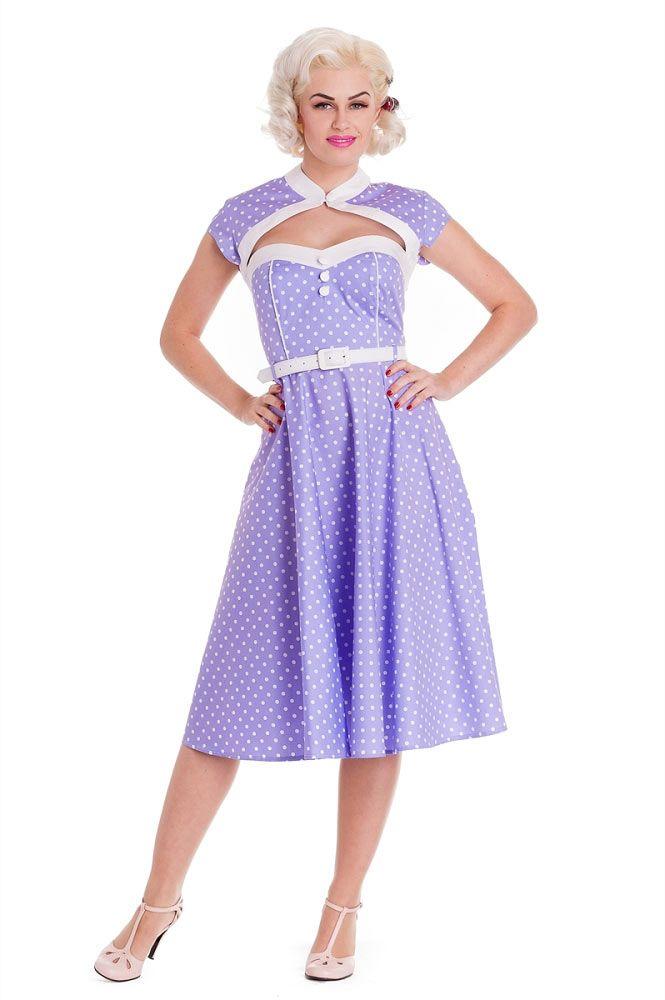 Hell Bunny Melanie Lilac Polka Dot Swing Dress #hellbunny #lavender ...
