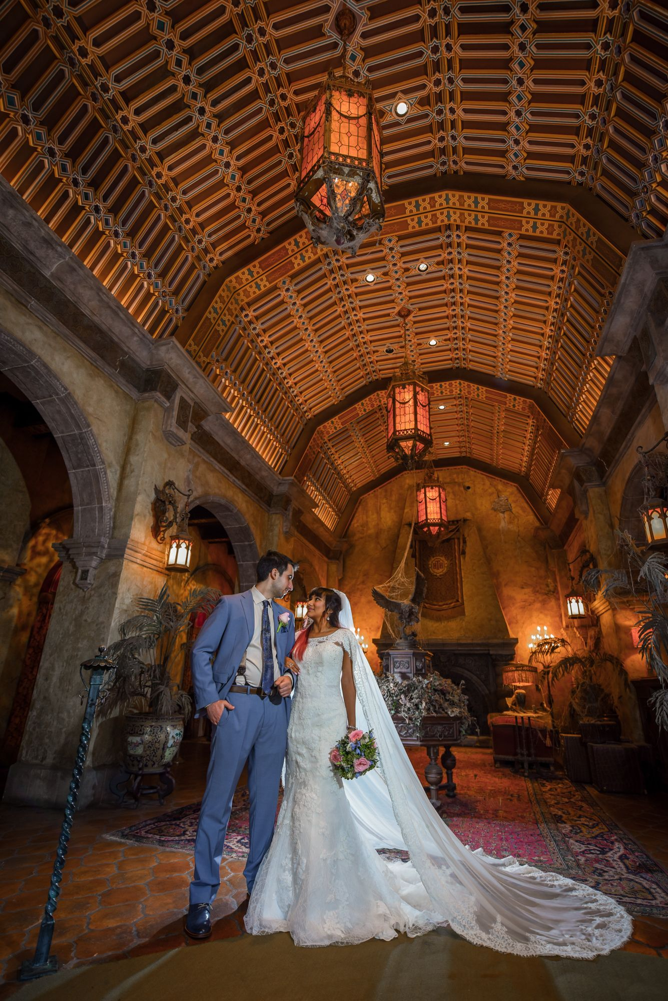Wedding portrait inside the Tower of Terror lobby at ...