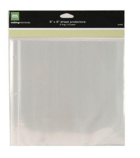 Páginas protectoras de plástico 10 unid de 20,3x20,3 cm.