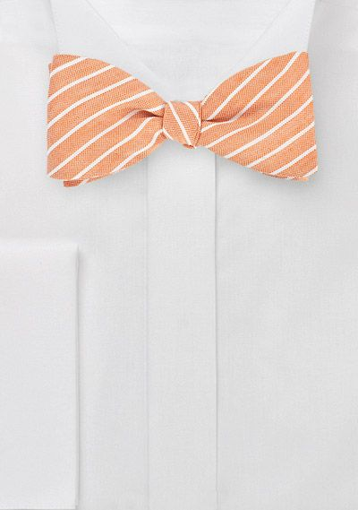 Striped Linen Bow Tie in Peach