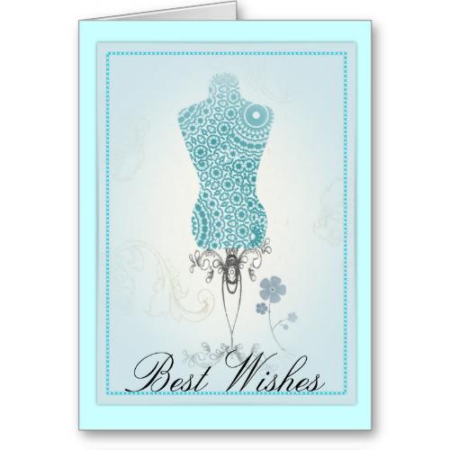 Vintage Inspired Teal Blue Mannequin Greeting Card